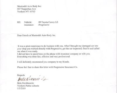 Customer Testimonials: Mastroddi Auto Body